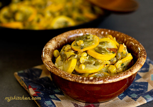 A bowl of calabacitas (squash, green chile, and corn)