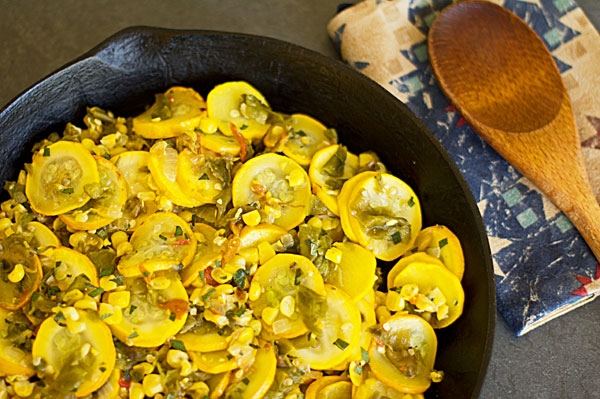 Calabacitas-Summer squash, green chile and corn @MJsKitchen