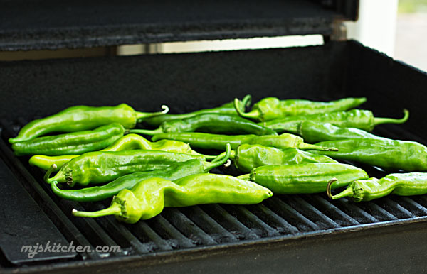 Roasting Green chile on the grill