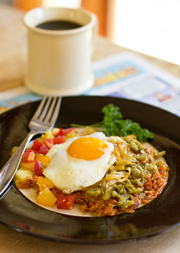 Southwestern hashbrowns with New Mexico green chile and cheese