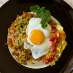 Sweet potato hashbrowns with green chile, cheese, and an egg