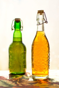 A vinegar infused with peppercorns and cucumber