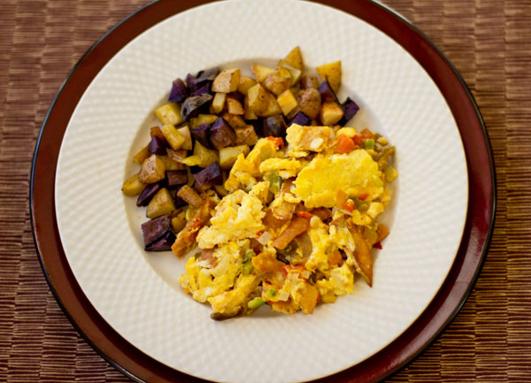 In the southwest U.S., migas is a breakfast dish made with scrambled egg, green chile and fried corn tortillas