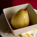 Pears poached in apple cider, Cointreau and spice