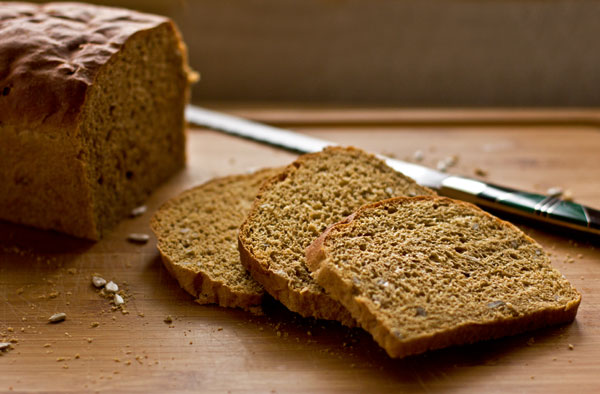 Multigrain sandwich bread made with a variety of grains and sunflower seeds. A wonderful PB&J bread!