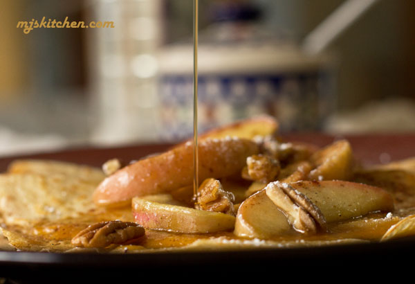 Crepes with sauteed apples, toasted pecans, cheddar cheese and maple syrup