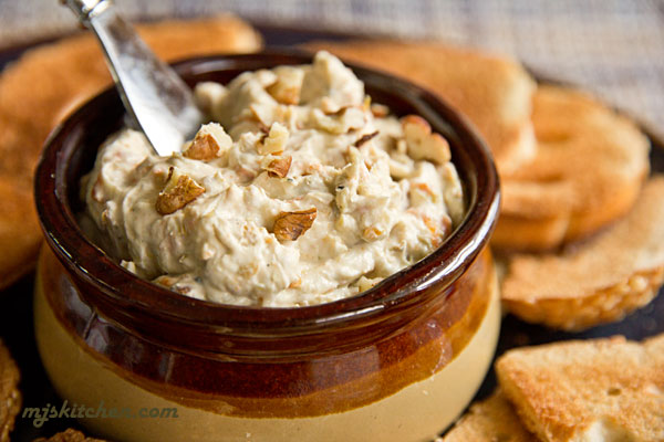 New Mexico Green Chile Cheese Spread with toasted pecans