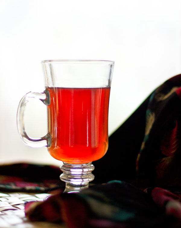 Rooibos chai brewed in cranberry juice mjskitchen.com