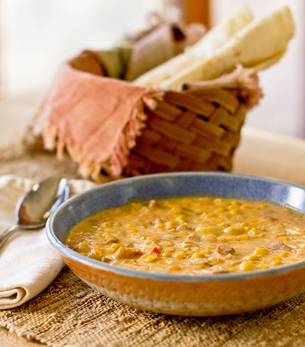 A spicy corn chowder with smoked ham and chile powders mjskitchen.com