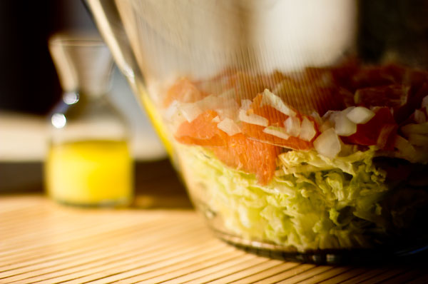 A quick and easy slaw made with oranges, cabbage and a simple vinaigrette mjskitchen.com