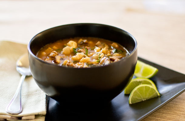 A hearty soup with chorizo, hominy (posole), mushrooms and Swiss chard. mjskitchen.com