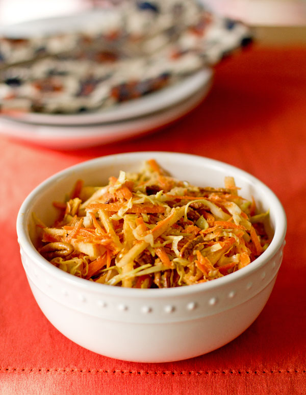 Apple Slaw with apples, cabbage, carrots, toasted pecans seasoned with masala spice. #cabbage #slaw @mjskitchen
