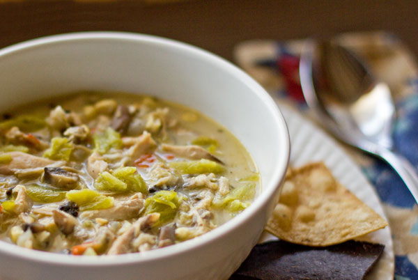Green chile chicken mushroom soup is spicy and hearty. The cure for the common cold. mjskitchen.com