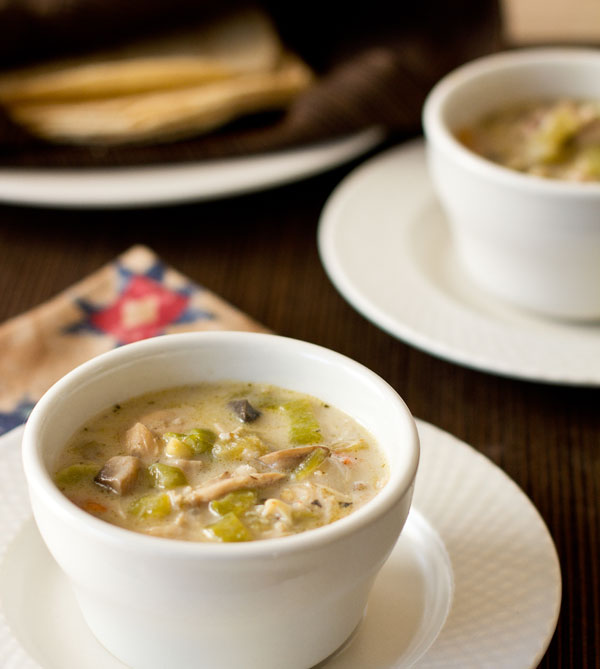 Green chile chicken soup with mushrooms and corn mjskitchen.com