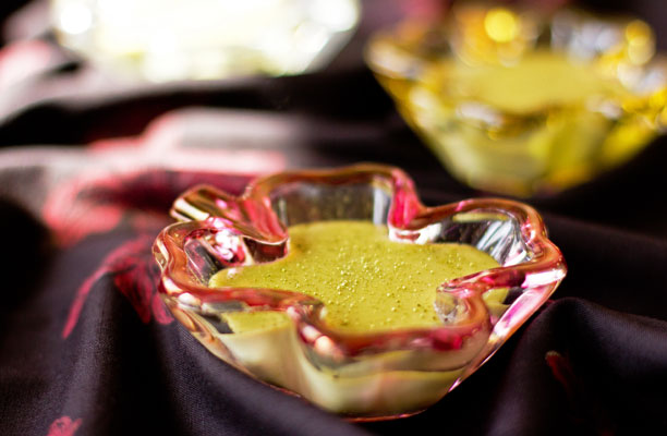 A silky pudding made with matcha green tea and white chocolate. Quick and easy - no eggs. @MJsKitchen mjskitchen.com