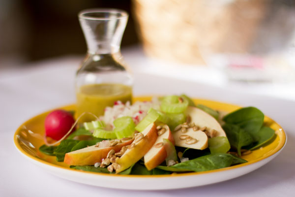 Apple, celery, and radish salad with a Green chile salad dressing. mjskitchen.com