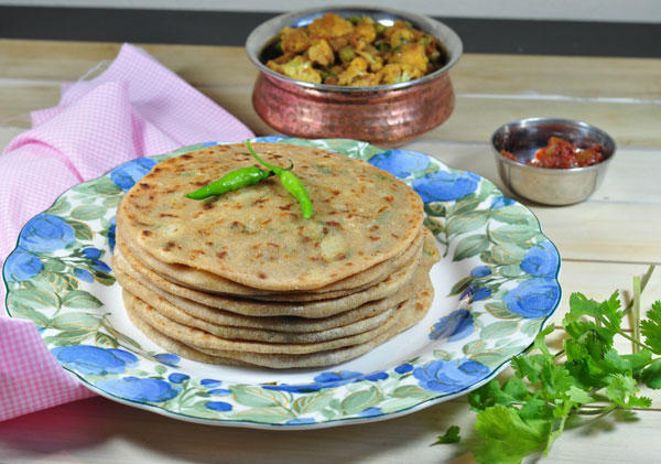 Indian flatbread stuffed with a spicy potato mixture by Zesty South Indian Kitchen mjskitchen.com