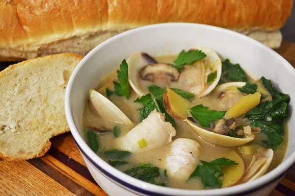 A light and delightful bisque of white fish, clams and fenugreek mjskitchen.com @MJsKitchen