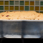 The risen dough of a fruit and nut yeast bread mjskitchen.com