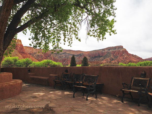 The patio of Ghost House at Ghost Ranch in northern New Mexico. mjskitchen.com @MJsKitchen
