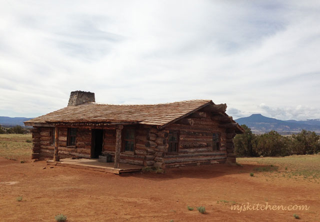 Log Cabin at Ghost Ranch, New Mexico Cerro Pedernal in background. mjskitchen.com