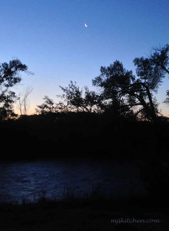 Dawn with the moon and Venus rising over the Rio Chama - New Mexico mjskitchen.com