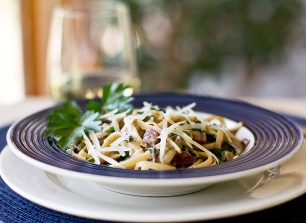An easy pasta dish with leftover ham, mushroom, greens and spices. mjskitchen.com @MJsKitchen