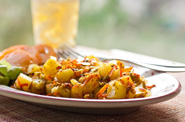 A spicy stovetop winner with country fried potatoes, leeks, carrots and New Mexico green chile. mjskitchen.com @MJsKitchen