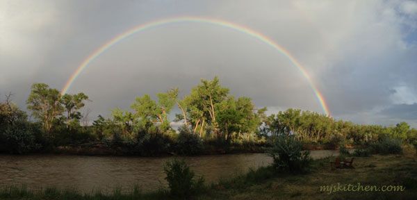 A double rainbow over the Rio Chama as it runs through Abiquiu, NM mjskitchen.com MJsKitchen