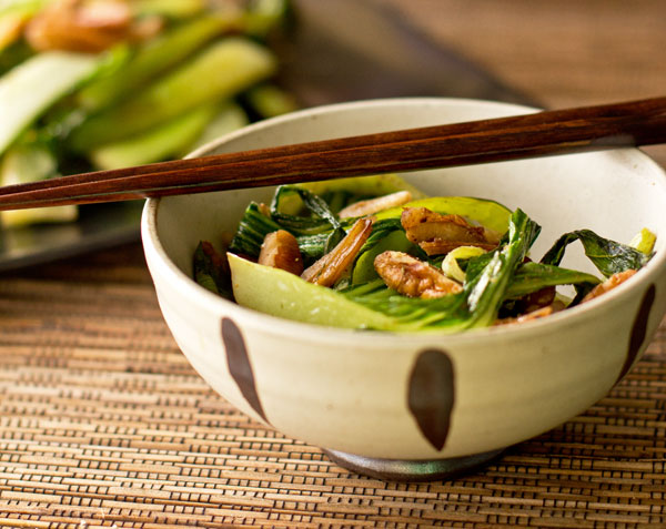 An easy side of bok choy, pecans and Asian spices. mjskitchen.com @MJsKitchen