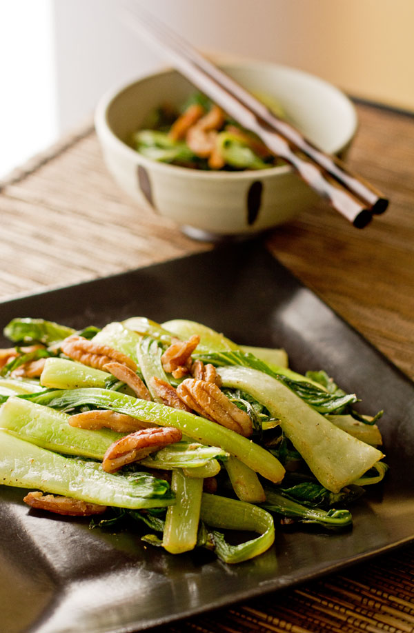 Bok choy, pecans and Asian spices make an easy side dish. @MJsKitchen