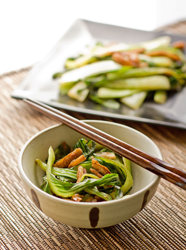 Bok choy, pecans and Asian spices make an easy side dish @MJsKitchen