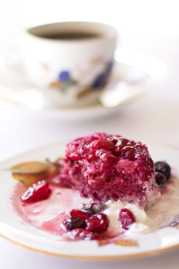 Mixed Berry Pudding (aka Summer Pudding)- just fresh berries, a little bread, and sweetener. mjskitchen.com