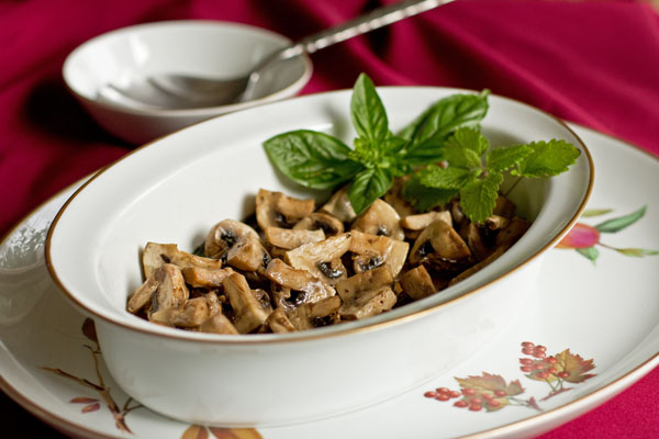 Mushrooms stewed in olive oil and butter with a variety of fresh herbs. mjskitchen.com