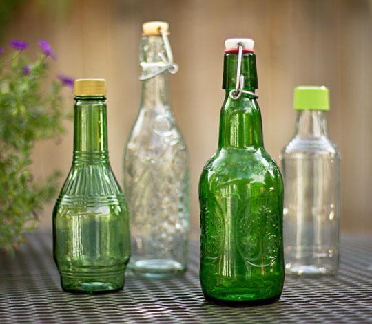 Repurpose bottles for infused vinegar