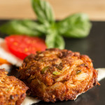 Green Chile Crab Cakes with horseradish sauce | mjskitchen.com