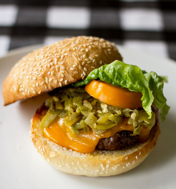 The quintessential Green Chile Cheeseburger #burger #green #chile @mjskitchen