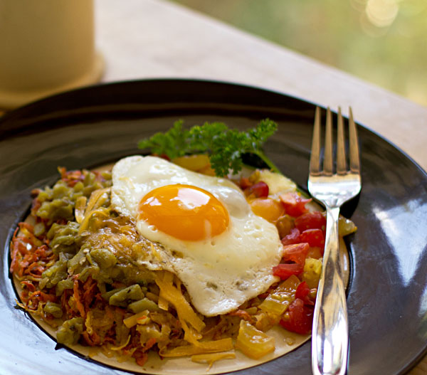 Western style hashbrowns with green chile and sweet potatoes