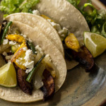 Vegetarian tacos with portobello, summer squash and a red chile-yogurt sauce. mjskitchen.com