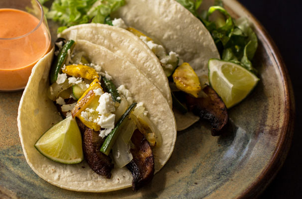 Vegetarian tacos with portabello, summer squash and a red chile-yogurt sauce. mjskitchen.com