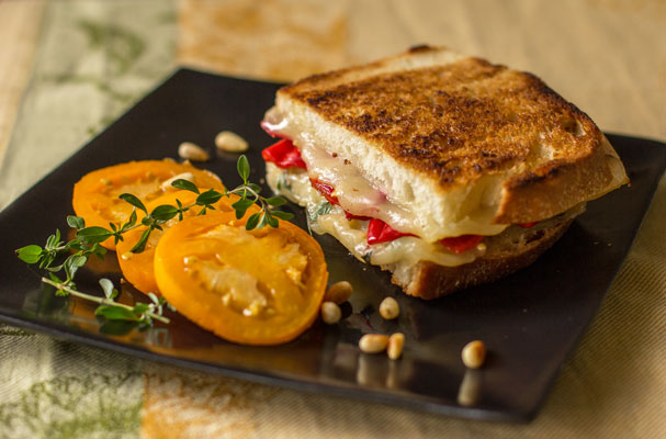 Urfa Biber chile and toasted pinon (pine) nuts make a great grilled cheese sandwich | mjskitchen.com #grilledcheese #urfabiber