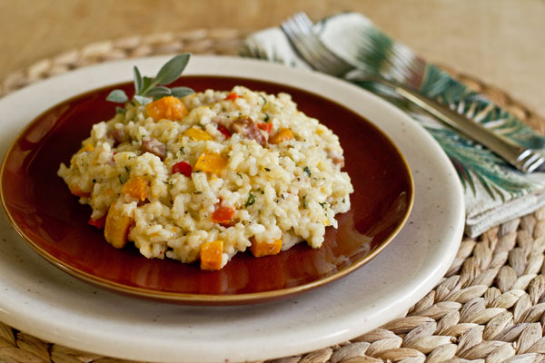 Risotto with roasted butternut squash and andouille sausage