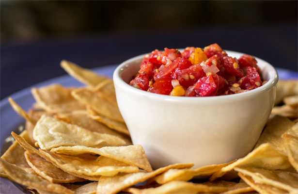 Pico de Gallo with pickled peppers and chipotle flakes | mjskitchen.com #salsa