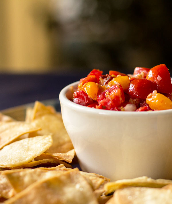 Pico de Gallo with pickled peppers and chipotle flakes #salsa @mjskitchen