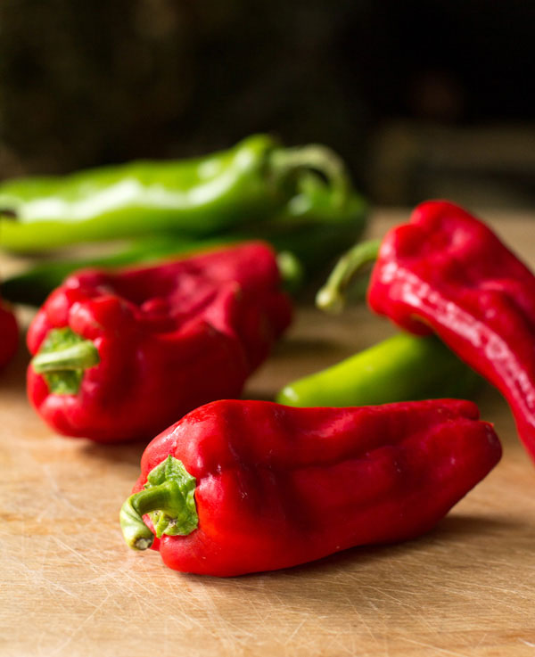 Red urfa biber chiles and green New Mexico chiles |mjskitchen.com #chile #chiles