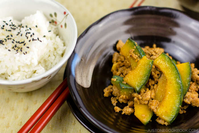 Kabocha Pork Stirfry | justonecookbook.com