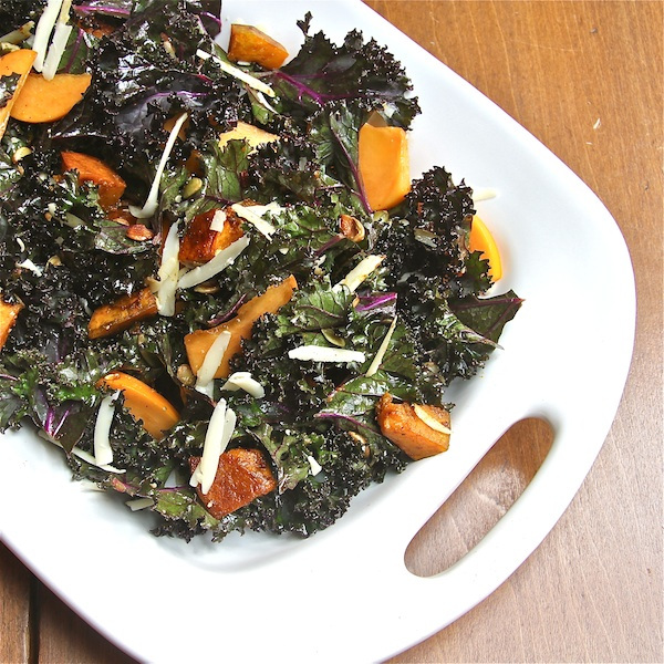 Kabocha and Kale Salad with Persimmon | thewimpyvegetarian.com