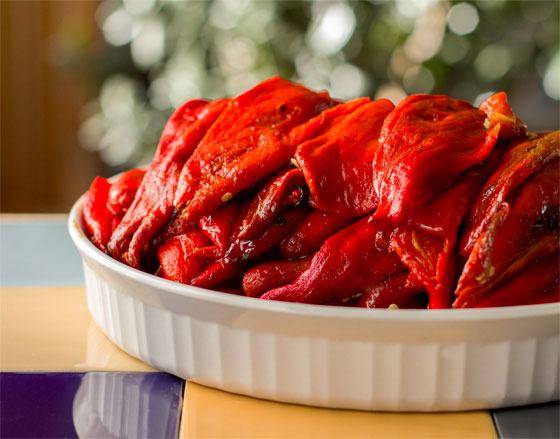 New Mexico fresh red chile, roasted, peeled and destemmed | mjskitchen #redchile