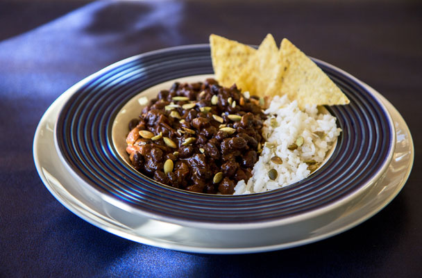 Black beans cooked with a deconstructed black mole | mjskitchen.com