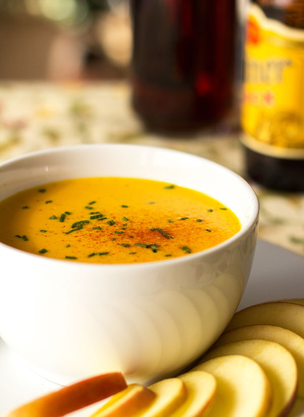 Pumpkin Beer Cheese soup with Zamorano and Parrano cheese | mjskitchen.com